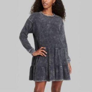 WILD FABLE charcoal wash tiered sweatshirt dress